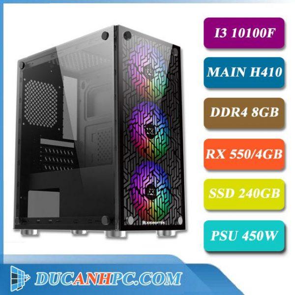 Máy Tính Chơi Game I3 10100f Main H410 Ram 8Gb Vga Rx 550 SSD 240Gb